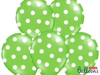 6 Luftballons Hellgrün mit Punkten