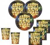 32 Teile Silvester und Neujahrs Happy New Year Deko Set 8 Personen
