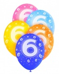 5 Geburtstags Luftballons mit der Zahl 6