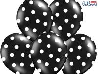 6 Luftballons Schwarz mit Punkten