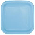 16 kleine quadratische Papp Teller Hellblau