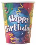 8 bunte Happy Birthday Party Becher