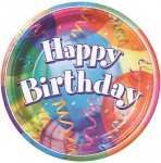 8 bunte Happy Birthday Party Teller