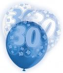 6 Luftballons zum 30. Geburtstag in Blau