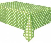 Tischdecke hellgrüne Punkte
