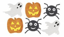 6 kleine Halloween Glitzer Pappschilder