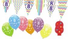 8. Geburtstag Girlande + Luftballons + Kerze Deko Set - Acht