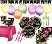 XXL Knicklicht Neon Raver Party Deko Set für 16 Personen