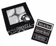 3 Stück Halloween Muffin Gebäck Box mit Sichtfenster Spinnen