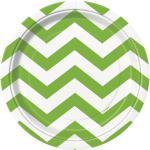 8 kleine Papp Teller ZickZack Hellgrün