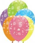 6 bunte Luftballons zum 5. Geburtstag