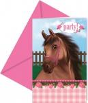 6 Einladungskarten Pink Pony