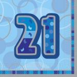 21. Geburtstag Servietten Blau