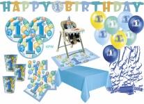 XXL Party Deko Set 1. Geburtstag Blau für 16 Personen