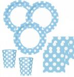 50 Teile Party Set Hellblau mit weißen Punkten für 16 Personen
