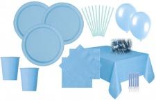 XXL 111 Teile Party Deko Set Hellblau für 16 Personen