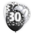 6 Luftballons zum 30. Geburtstag Schwarz Mix