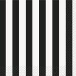 16 kleine Servietten schwarze Streifen