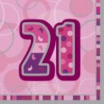 21. Geburtstag Servietten Pink