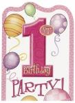 8 Einladungen Erster Geburtstag rosa Ballons