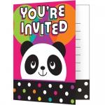 8 Einladungskarten Pink Panda Bär