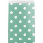 20 kleine Papiertüten in Mint mit weißen Punkten