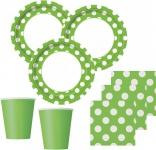 32 Teile Party Set Hellgrün mit weißen Punkten für 8 Personen