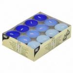 24 Teelichter Blau Mix