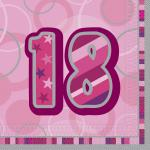 16 Servietten zum 18. Geburtstag in Pink