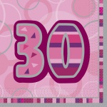 48 Servietten zum 30. Geburtstag in Pink