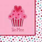 18 kleine Servietten Muffin Herzchen
