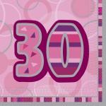 16 Servietten zum 30. Geburtstag in Pink