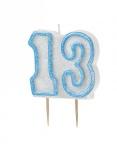 13. Geburtstag Glitzer Kerzen Pick Blau