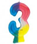 Regenbogen Zahlenkerze Drei