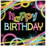 16 Geburtstags Servietten Knicklicht Neon Raver Party