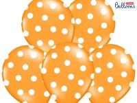 6 Luftballons Orange Mandarine mit Punkten
