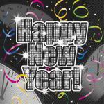 16 Silvester Servietten Happy New Year Vintage