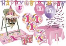 XXL Party Deko Set 1. Geburtstag Rosa für 16 Personen