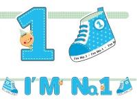 Erster Geburtstag Papier Girlande blau I'm No. 1
