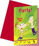 6 Phineas und Ferb Einladungskarten