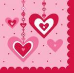 18 kleine Servietten hängende Herzchen