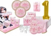 XXL 62 Teile Erster Geburtstag Blinke Kleiner Stern Rosa Party Deko Set 8 Personen