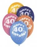 5 bunte Luftballons zum 40. Geburtstag