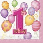 16 Servietten Erster Geburtstag rosa Ballons
