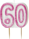 60. Geburtstag Glitzer Kerzen Pick Pink