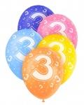 5 Geburtstags Luftballons mit der Zahl 3