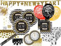 XXL Silvester und Neujahrs Party Deko Set 8 Personen - Black and Gold