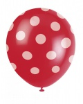 6 Luftballons rote Punkte