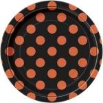 8 kleine Pünktchen Teller Schwarz Orange