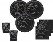 32 Teile Halloween Deko Set Spinnen Netz für 8 Personen